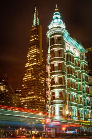 Columbus Tower and Transamerica Pyramid in San Francisco, California, USA