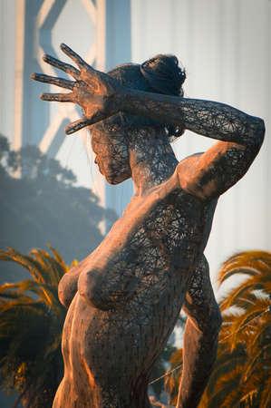 schateiland: Close-up van een standbeeld in Treasure Island, San Francisco, California, USA