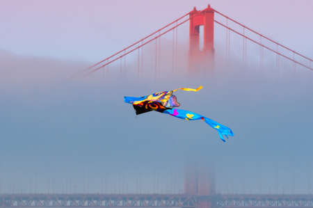 Kite flying in front of the Golden Gate Bridge, San Francisco Bay, San Francisco, California, USA