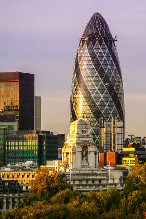 Skyscrapers in a city, 30 St Mary Axe, City Of London, London, England