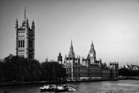 city of westminster: Government building at the waterfront, Big Ben, Houses Of Parliament, Thames River, City Of Westminster, London, England Stock Photo