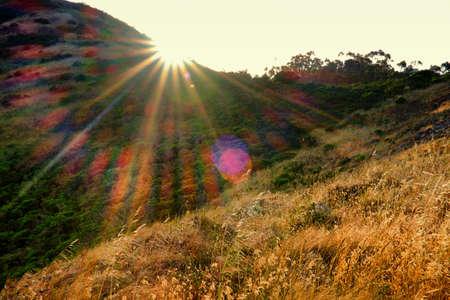 Headland of the Golden Gate National Recreation Area at bright sunshine, The Presidio, San Francisco, California, USA Standard-Bild