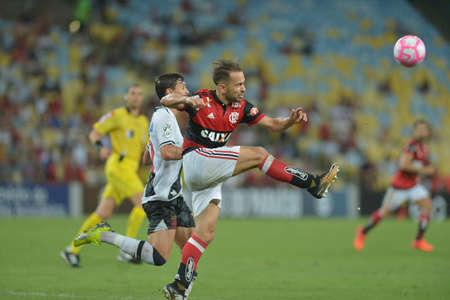 Rio, Brazil - october 28, 2017: Trauco player in match between Flamengo and  Vasco by the Brazilian championship in Maracana Stadium Editorial