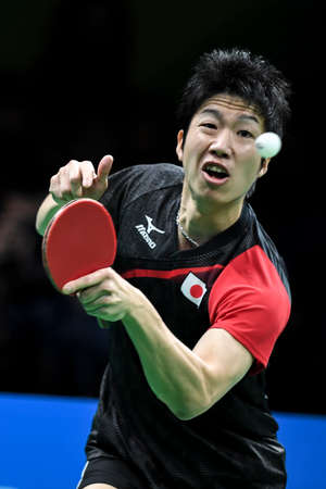 Rio, Brazil, 11 august 2016: The table tennis player Jun MIZUTANI  (JPN) when playing against Long MA (CHN) during Olympic Games Rio 2016 at Riocentro