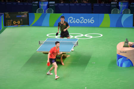 Rio, Brazil, 11 august 2016: The table tennis player Long MA (CHN) when playing against Jike ZHANG (CHN) during Olympic Games Rio 2016 at Riocentro