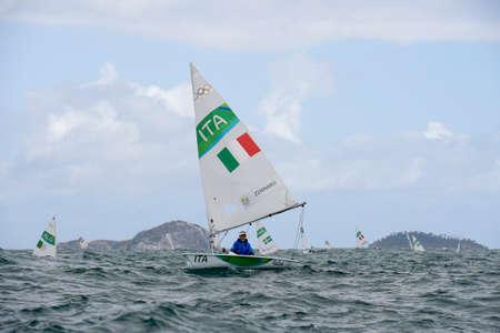 Rio, Brazil - august 12, 2016: Silvia ZENNARO (ITA) in the Laser Women category during the Rio 2016 Olympic Games Sailing held at Marina da Gloria, Guanabara Bay