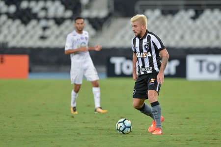 Rio, Brazil - november 04, 2017: Victor Luis player in match between Botafogo and  Fluminense by the Brazilian Championship in Nilton Santos Stadium