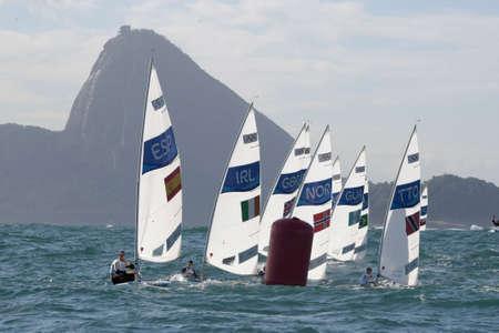 joaquin: Rio, Brazil - august 12, 2016: BLANCO ALBALAT Joaquin (ESP) in the Laser Men category during the Rio 2016 Olympic Games Sailing held at Marina da Gloria, Guanabara Bay Editorial