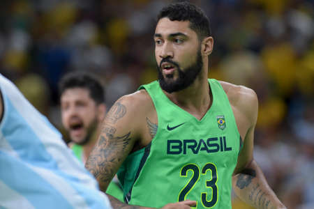Rio, Brazil - august 13, 2016: Augusto LIMA (BRA) during basketball game Brazil (BRA) vs Argentina (ARG) in Arena Carioca 1 in the Olympics Rio 2016