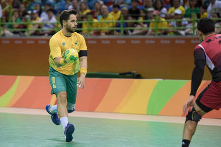 Rio, Brazil - august 13, 2016: Diogo Kent HUBNER during Handball game Brazil (BRA) vs Egypt (Egy) in Future Arena in the Olympics Rio 2016