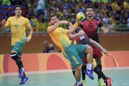 terrain de handball: Rio, Brazil - august 13, 2016: Lucas  CANDIDO (BRA) during Handball game Brazil (BRA) vs Egypt (Egy) in Future Arena in the Olympics Rio 2016