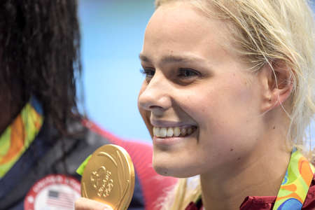 Rio de Janeiro, Brazil - august 13, 2016: Pernille Blume (DEN) gold metal during medal ceremony after Womens 50 metre freestyle of the Rio 2016 Olympics