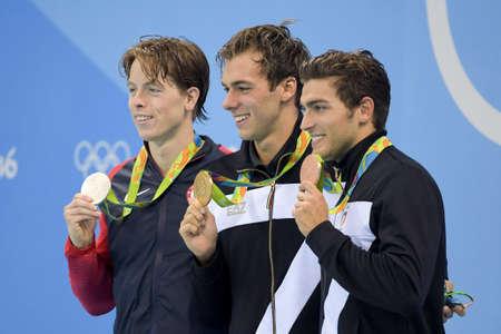 Rio de Janeiro, Brazil - august 13, 2016: JAEGER Connor (USA) (L), PALTRINIERI Gregorio (ITA) and DETTI Gabriele (ITA) during men 1500 metre freestyle of the Rio 2016 Olympics at medal ceremony