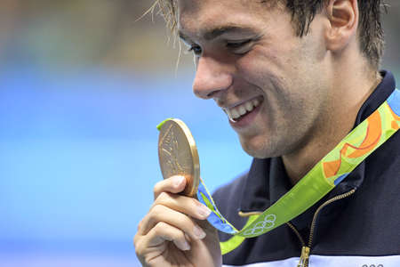 Rio de Janeiro, Brazil - august 13, 2016: PALTRINIERI Gregorio (ITA) of Italy during men 1500 metre freestyle of the Rio 2016 Olympics at medal ceremony
