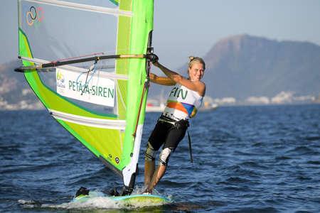 world championships: Rio de Janeiro, Brazil - august 14, 2016: Tuuli PETAJA-SIREN (FIN) during Womens rs-x relay of the Rio 2016 Olympics Games Editorial