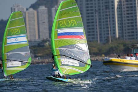 Rio de Janeiro, Brazil - august 14, 2016: Stefaniya ELFUTINA (RUS) during Womens rs-x relay of the Rio 2016 Olympics Games