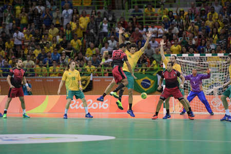Rio, Brazil - august 13, 2016: ELBASSIOUNY Mohamed Hesham during Handball game Brazil (BRA) vs Egypt (Egy) in Future Arena in the Olympics Rio 2016