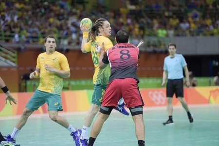 terrain de handball: Rio, Brazil - august 13, 2016: Oswald dos SANTOS GUIMARAES during Handball game Brazil (BRA) vs Egypt (Egy) in Future Arena in the Olympics Rio 2016 Éditoriale
