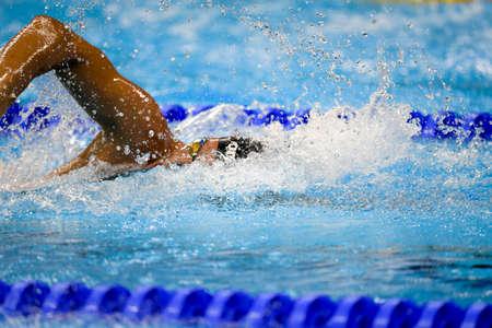piscina olimpica: Río de Janeiro, Brasil - 13 de agosto de 2016: DETTI Gabriele (ITA) durante el estilo libre de natación 1500 metros de los hombres de los Juegos Olímpicos Rio 2016 Rio 2016