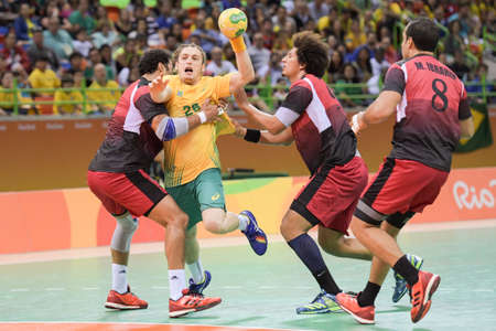 Rio, Brazil - august 13, 2016: Oswald dos SANTOS GUIMARAES during Handball game Brazil (BRA) vs Egypt (Egy) in Future Arena in the Olympics Rio 2016 Editorial