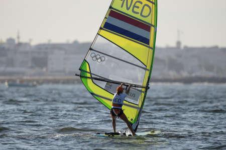 리우데 자네이루, 브라질 - 2016 년 8 월 14 일 : 리우데 자네이루 (NED), 리우 2016 올림픽 게임의 여자 RS