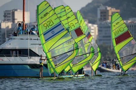 Rio de Janeiro, Brazil - august 14, 2016: MAAYAN DAVIDOVICH (ISR) during womens rs-x relay of the Rio 2016 Olympics Games