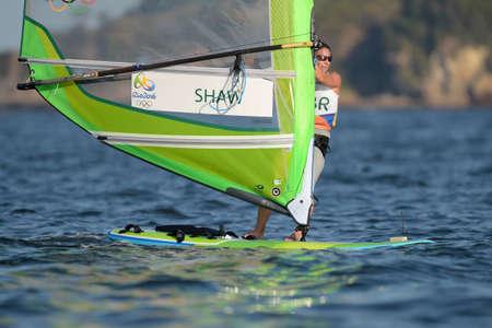 Río de Janeiro, Brasil - 14 de agosto de 2016: Bryony SHAW (GBR) durante el relevo rs-x de las mujeres de los Juegos Olímpicos de Río 2016
