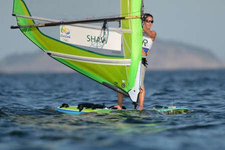 piscina olimpica: Río de Janeiro, Brasil - 14 de agosto de 2016: Bryony SHAW (GBR) durante el relevo rs-x de las mujeres de los Juegos Olímpicos de Río 2016