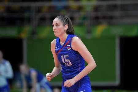 Rio de Janeiro, Brazil - august 14, 2016: KOSHELEVA Tatiana (RUS) during volleyball game  Brazil (BRA) vs Russia (RUS) in maracanazinho in the Olympics Games Rio 2016