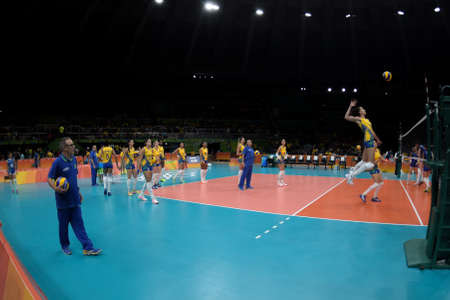 Rio de Janeiro, Brazil - august 14, 2016: volleyball game  Brazil (BRA) vs Russia (RUS) in maracanazinho in the Olympics Games Rio 2016 Editorial