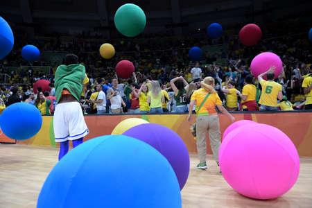 Rio de Janeiro, Brazil - august 14, 2016: Fan during volleyball game  Brazil (BRA) vs Russia (RUS) in maracanazinho in the Olympics Games Rio 2016