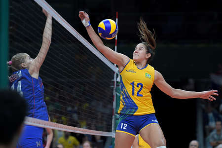Rio de Janeiro, Brazil - august 14, 2016: PEREIRA Natalia (BRA) during volleyball game  Brazil (BRA) vs Russia (RUS) in maracanazinho in the Olympics Games Rio 2016 Editöryel