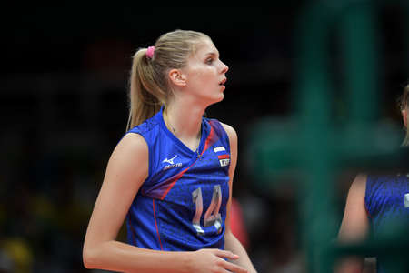 Rio de Janeiro, Brazil - august 14, 2016: FETISOVA Irina (RUS) during volleyball game  Brazil (BRA) vs Russia (RUS) in maracanazinho in the Olympics Games Rio 2016