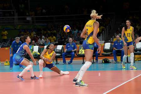 Rio de Janeiro, Brazil - august 14, 2016: Fabiana CLAUDINO (C) (BRA) during volleyball game  Brazil (BRA) vs Russia (RUS) in maracanazinho in the Olympics Games Rio 2016 Editorial