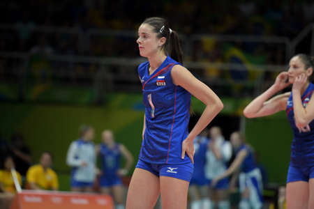 Rio de Janeiro, Brazil - august 14, 2016: SHCHERBAN Yana (RUS) during volleyball game  Brazil (BRA) vs Russia (RUS) in maracanazinho in the Olympics Games Rio 2016