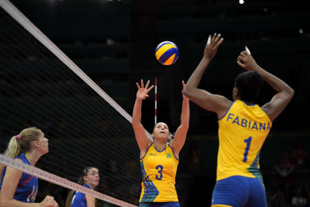 Rio de Janeiro, Brazil - august 14, 2016: Danielle LINS (BRA) during volleyball game  Brazil (BRA) vs Russia (RUS) in maracanazinho in the Olympics Games Rio 2016