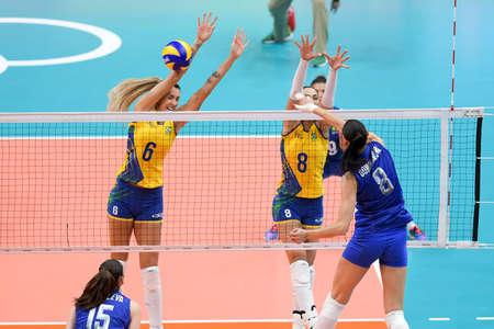 Rio de Janeiro, Brazil - august 14, 2016: GONCHAROVA Nataliya (RUS) during volleyball game  Brazil (BRA) vs Russia (RUS) in maracanazinho in the Olympics Games Rio 2016 Editöryel