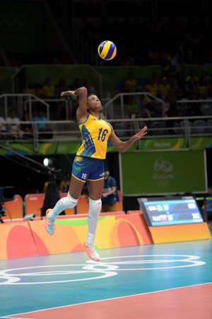 Rio de Janeiro, Brazil - august 14, 2016: RODRIGUES Fernanda (BRA) during volleyball game  Brazil (BRA) vs Russia (RUS) in maracanazinho in the Olympics Games Rio 2016