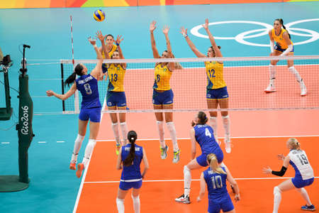 Rio de Janeiro, Brazil - august 14, 2016: GONCHAROVA Nataliya (RUS) during volleyball game  Brazil (BRA) vs Russia (RUS) in maracanazinho in the Olympics Games Rio 2016 Editorial