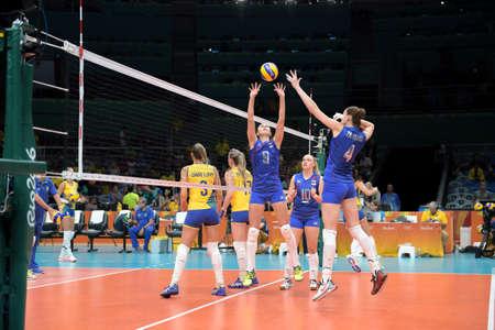 Rio de Janeiro, Brazil - august 14, 2016: ZARYAZHKO Irina (RUS) during volleyball game  Brazil (BRA) vs Russia (RUS) in maracanazinho in the Olympics Games Rio 2016