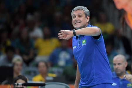 Rio de Janeiro, Brazil - august 14, 2016: Coach Jose Roberto Guimaraes (BRA) during volleyball game  Brazil (BRA) vs Russia (RUS) in maracanazinho in the Olympics Games Rio 2016 Editorial