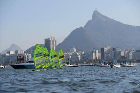 piscina olimpica: Río de Janeiro, Brasil - 14 de agosto de 2016: relevo rs-x de las mujeres de los Juegos Olímpicos de Rio 2016