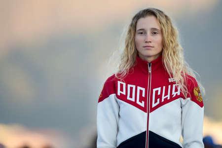 Rio de Janeiro, Brazil - august 14, 2016: Stefaniya ELFUTINA (RUS) bronze medal bronze during Podium ceremony Womens rs-x sailing of the Rio 2016 Olympics Games