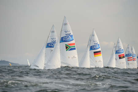 Rio de Janeiro, Brazil - august 15, 2016: JIM Asenathi (Helm) HUDSON Roger Beresford (Crew) during mens 470 class sailing on the Rio 2016 Olympics Games Editorial