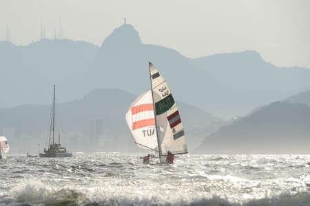 piscina olimpica: Rio de Janeiro, Brazil - august 15, 2016: VADLAU Lara (Helm) OGAR Jolanta (Crew) of Austria during mens 470 class sailing on the Rio 2016 Olympics Games Editorial