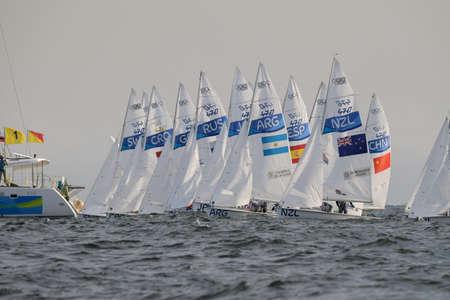 Rio de Janeiro, Brazil - august 15, 2016: Start during mens 470 class sailing on the Rio 2016 Olympics Games Editorial