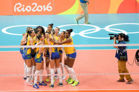 Rio de Janeiro, Brazil - august 14, 2016: Brazilians during volleyball game  Brazil (BRA) vs Russia (RUS) in maracanazinho in the Olympics Games Rio 2016