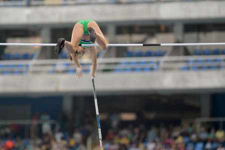 Rio de Janeiro, Brazil - august 16, 2016: PENA Tori (IRL) during Womens´s Pole Vault in the Rio 2016 Olympics Games Editorial