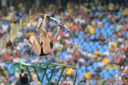 Rio de Janeiro, Brazil - august 16, 2016: NEWMAN Alysha (CAN) during Womens´s Pole Vault in the Rio 2016 Olympics Games Editorial