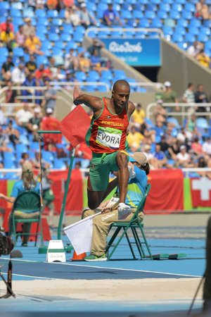 Rio de Janeiro, Brazil - august 16, 2016: Runner EVORA Nelson (POR) during Mens Triple Jump in the Rio 2016 Olympics